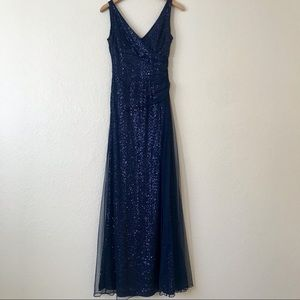 Navy blue sequined Ralph Lauren Evening gown.